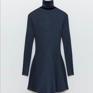 Zara Knit Mini Dress - Dark Blue Size L